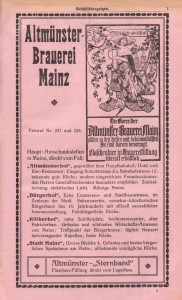 Werbeanzeige Altmünsterbrauerei 1920