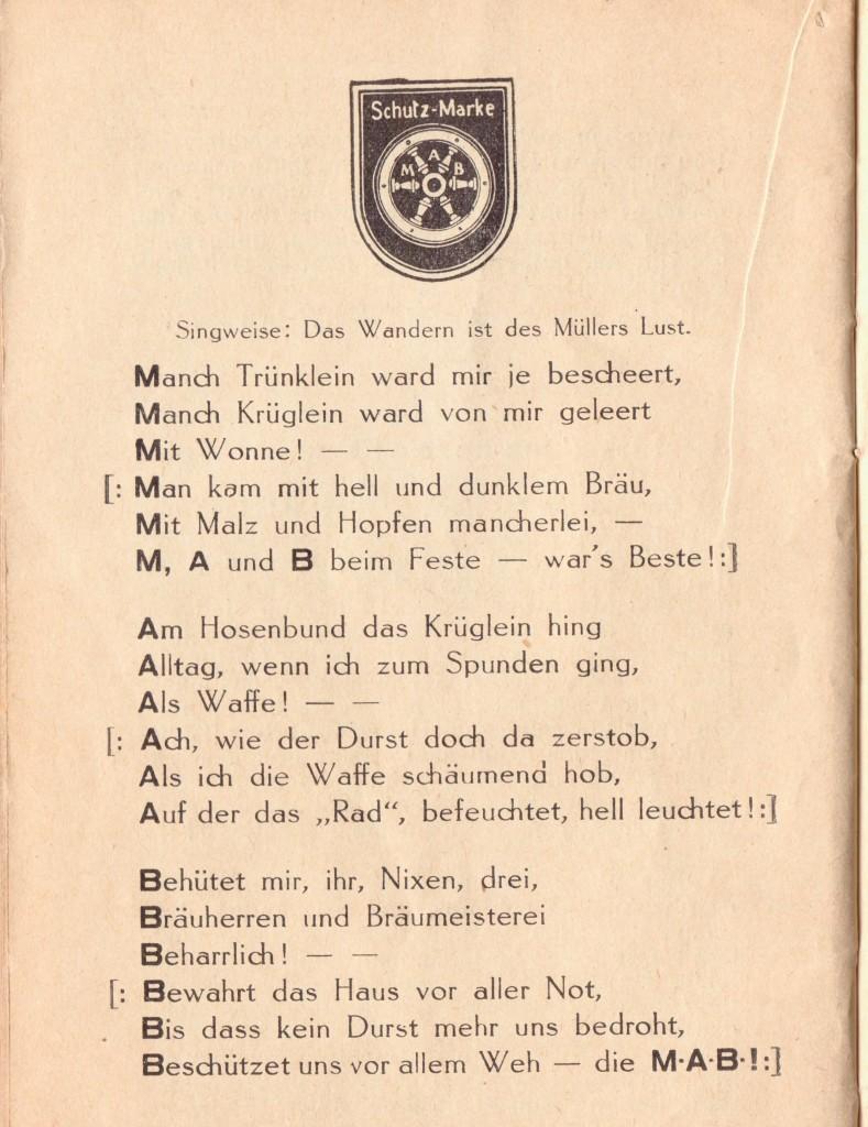 Trinklied Mainzer Aktien Bier MAB