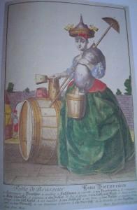 alte Zeichnung einer Bierbrauerin